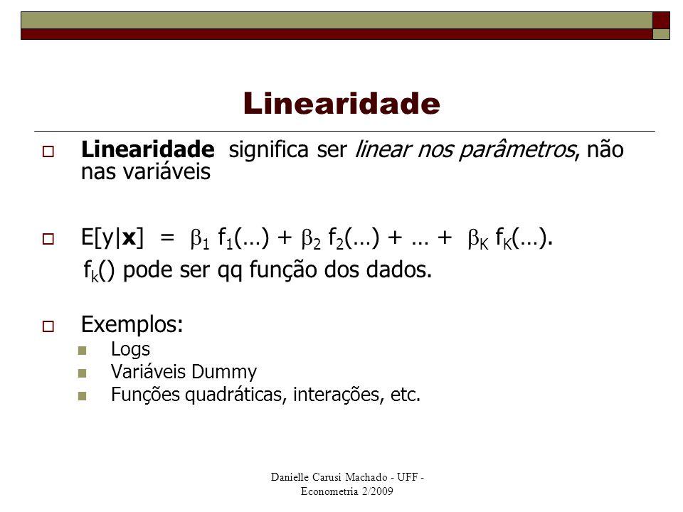 Linearidade Linearidade significa ser linear nos parâmetros, não nas variáveis. E[y|x] = 1 f1(…) + 2 f2(…) + … + K fK(…).
